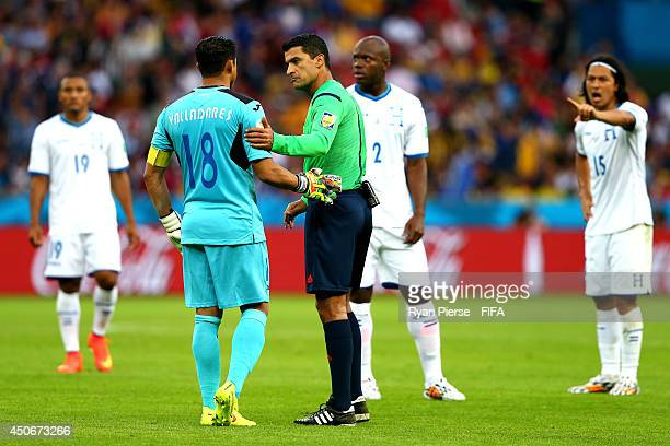 Noel Valladares of Honduras speaks with referee Sandro Ricci during the 2014 FIFA World Cup Brazil Group E match between France and Honduras at...