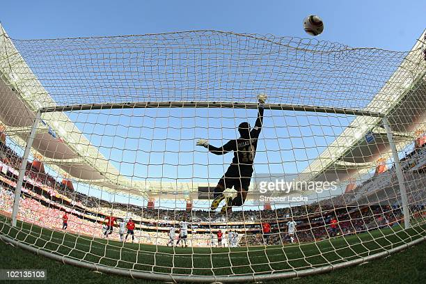 Noel Vallardes of Honduras pushes a shot over the cross bar during the 2010 FIFA World Cup South Africa Group H match between Honduras and Chile at...
