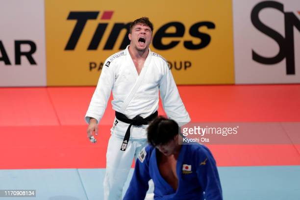Noel van T End of the Netherlands celebrates winning the gold medal after beating Shoichiro Mukai of Japan in the Men's -90kg final on day five of...