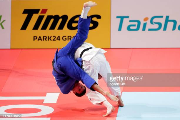 Noel van T End of the Netherlands throws Nemanja Majdov of Serbia in the Men's -90kg semi final on day five of the World Judo Championships at the...