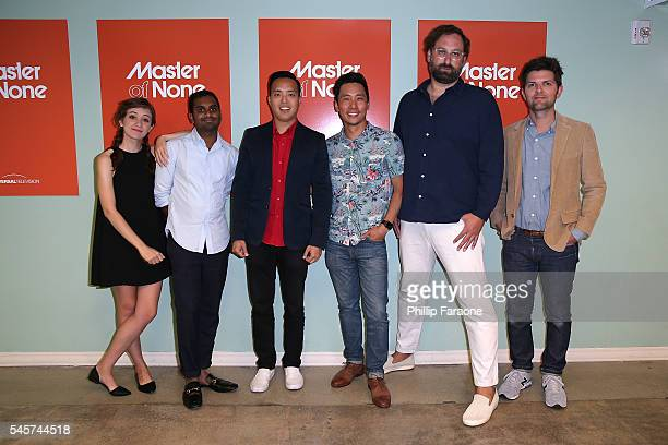 "Noel Wells, Aziz Ansari, Alan Yang, Kelvin Yu, Eric Wareheim, and Adam Scott attend the FYC @ UCB for ""Master of None"" at UCB Sunset Theater on July..."