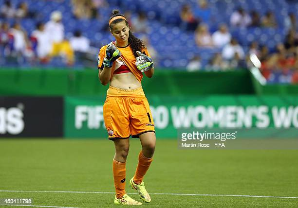 Noelia Bermudez goalkeeper of Costa Rica reacts during the FIFA U20 Women's World Cup 2014 group D match between Paraguay and Costa Rica at Olympic...