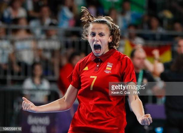 Noelia de las Heras of Spain celebrates scoring the first goal against Japan in the Women's Futsal semifinal match between Spain and Japan during the...