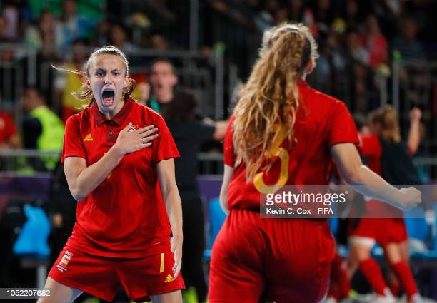 Noelia de las Heras of Spain celebrates scoring the first goal against Japan with Teresa Montesinos in the Women's Futsal semifinal match between...