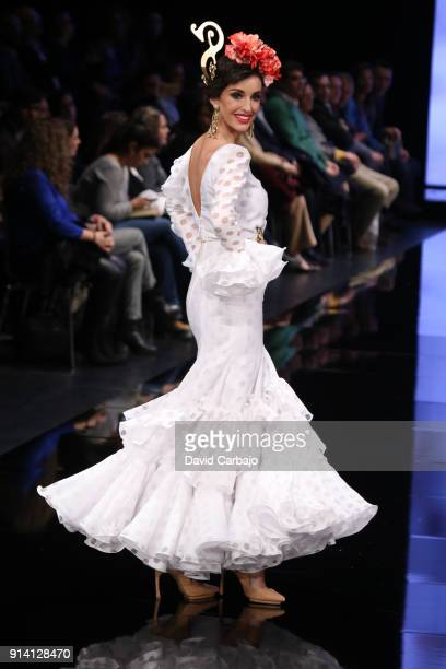 Noelia Lopez walks the runway wearing designs by Pilar Rubio during day three of Simof 2018 on February 3 2018 in Seville Spain