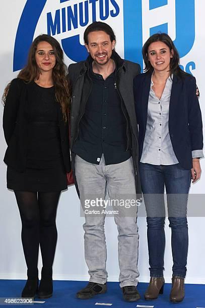 Noelia Vera Pablo Iglesias and Irene Montero attend the 20 Minutos newspaper 15th anniversary at the Real Casa de Correos on November 24 2015 in...