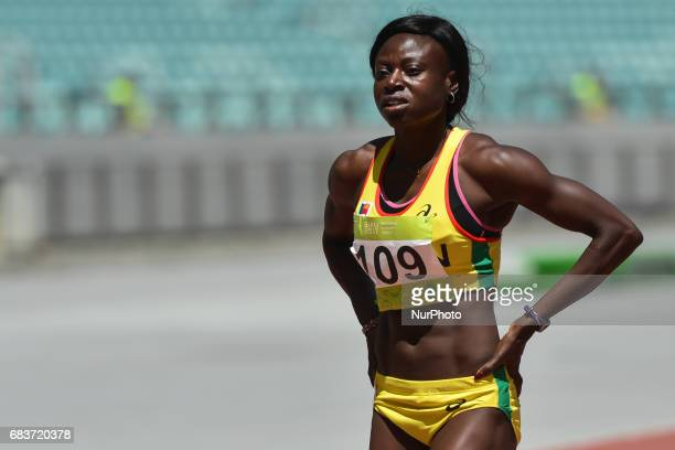 Noelie Yarigo of Benin after winning in Women's 800m Qualification race 3 during day five of Baku 2017 4th Islamic Solidarity Games at Baku Olympic...