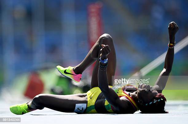 Noelie Yarigo of Benin reacts during the Women's 800m - Round 1 heats on Day 12 of the Rio 2016 Olympic Games at the Olympic Stadium on August 17,...