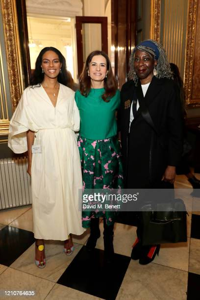 Noella Coursaris Musunka Livia Giuggioli and Margaret Omolola Young Baroness Young of Hornsey OBE attend the Commonwealth International Women's Day...