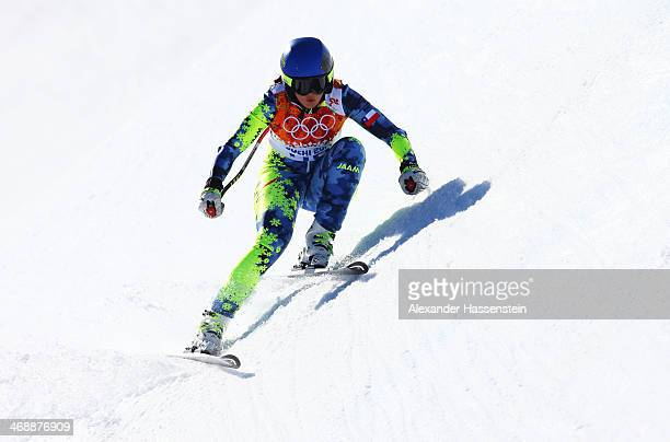 Noelle Barahona of Chile skis during the Alpine Skiing Women's Downhill on day 5 of the Sochi 2014 Winter Olympics at Rosa Khutor Alpine Center on...