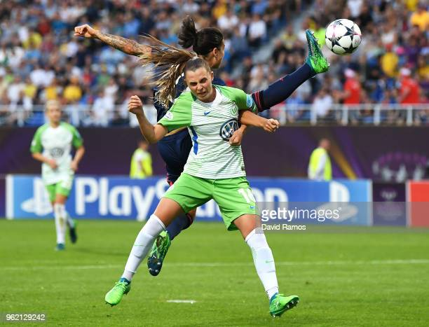 Noelle Maritz of Vfl Wolfsburg and Dzsenifer Marozsan of Lyon compete for the ball during the UEFA Womens Champions League Final between VfL...