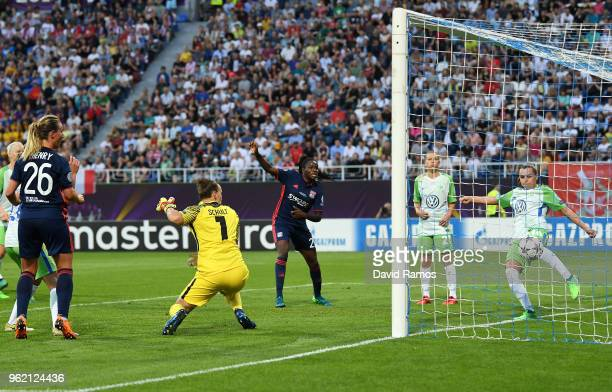 Noelle Maritz of Vfl Wolfsburg clears the ball on the goal line during the UEFA Womens Champions League Final between VfL Wolfsburg and Olympique...