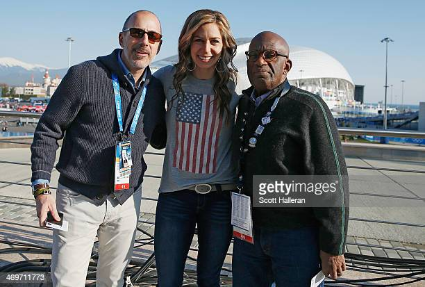 Noelle PikusPace of the USA Skelton team poses with Matt Lauer and Al Roker of the NBC TODAY Show in the Olympic Park during the Sochi 2014 Winter...