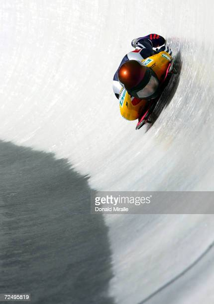 Noelle Pikus-Pace of the USA speeds down the hill to a third place finish in the Women's Skeleton for the Bobsled & Skeleton World Cup on February...
