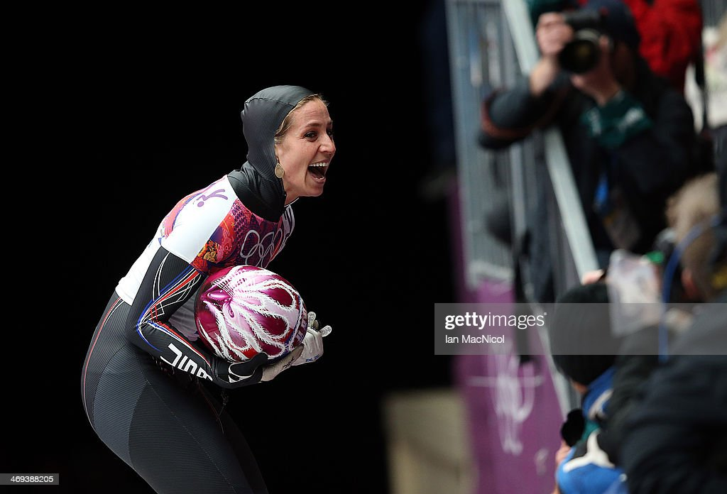 Noelle Pikus-Pace of USA celebrates after she completes her run in the Women's Skeleton Final on Day 7 of the Sochi 2014 Winter Olympics at Sliding Center Sanki on February 14, 2014 in Sochi, Russia.