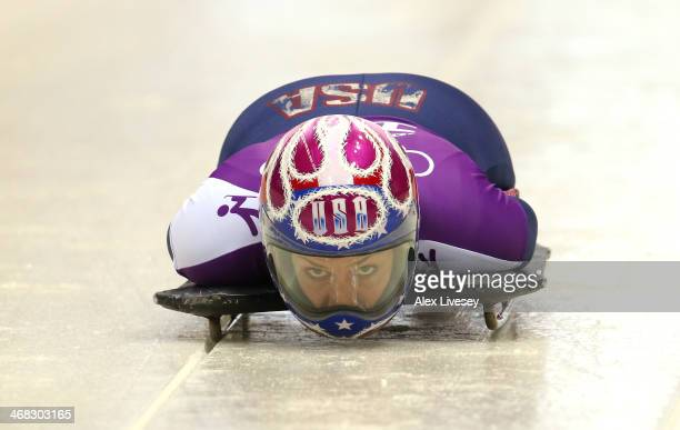 Noelle PikusPace of USA in action during a Women's Skeleton training session on Day 3 of the Sochi 2014 Winter Olympics at the Sanki Sliding Center...
