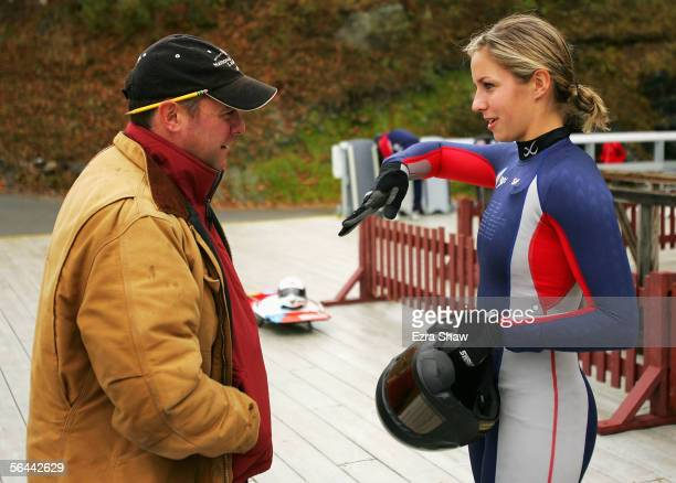 Noelle PikusPace speaks with her coach Tim Nardiello at the Verizon Sports Complex in Lake Placid New York PikusPace who was the first US women to...