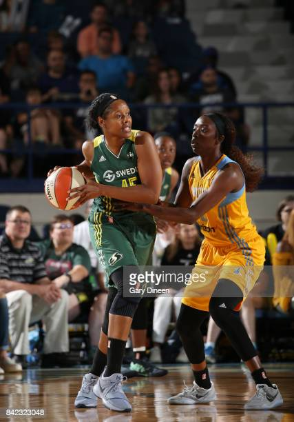 Noelle Quinn of the Seattle Storm handles the ball against the Chicago Sky on September 3 2017 at Allstate Arena in Rosemont IL NOTE TO USER User...