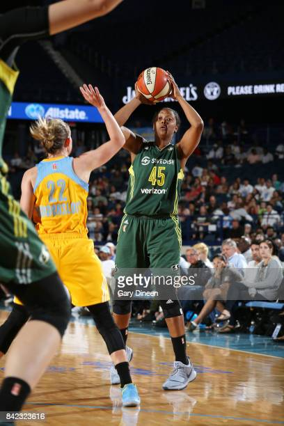Noelle Quinn of the Seattle Storm passes the ball against the Chicago Sky on September 3 2017 at Allstate Arena in Rosemont IL NOTE TO USER User...