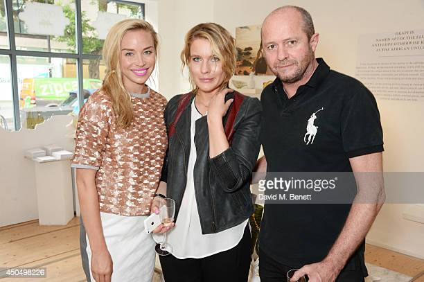 Noelle Reno Amy E Williams and Scot Young attend the Okapi London launch and summer party on June 12 2014 in London England