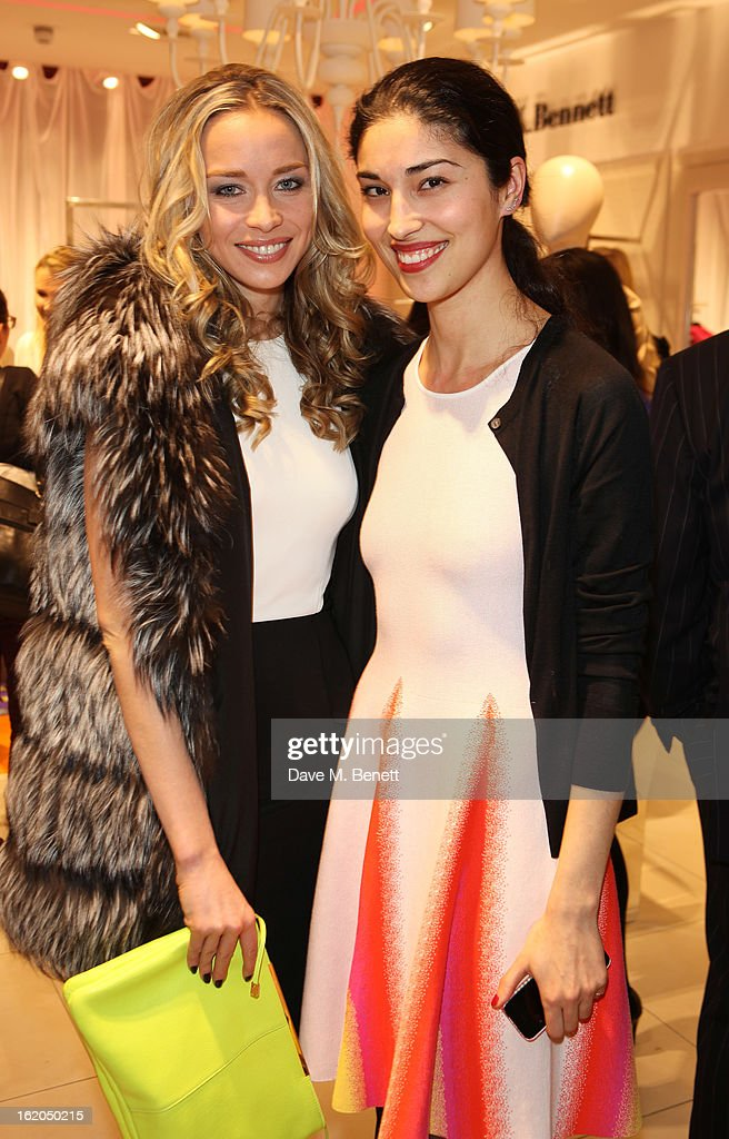Noelle Reno and Caroline Issa (R) attend as L.K. Bennett London and Caroline Issa launch their exclusive collection of shoes and handbags for Spring Summer 2013 at L.K. Bennett on February 18, 2013 in London, England.