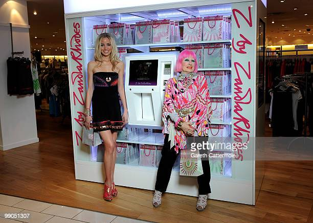 Noelle Reno and Designer Zandra Rhodes attend the launch photocall for Z by Zandra Rhodes at Harvey Nichols on May 12 2010 in London England The...