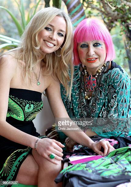 Noelle Reno and designer Zandra Rhodes pose as they talk through their new collection in Zandra Rhodes Studio on May 11 2010 in London England Noelle...