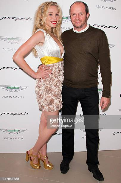 Noelle Reno and guest attend the launch of Aston Martin Vanquish at the London Film Museum on July 4 2012 in London England