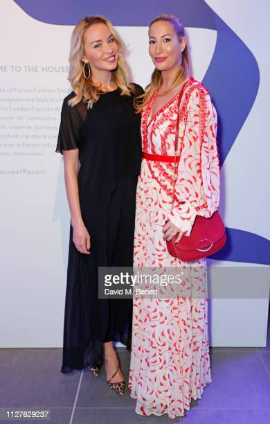 Noelle Reno and Laura Pradelska attend the launch of The House Of Peroni on February 26 2019 in London England