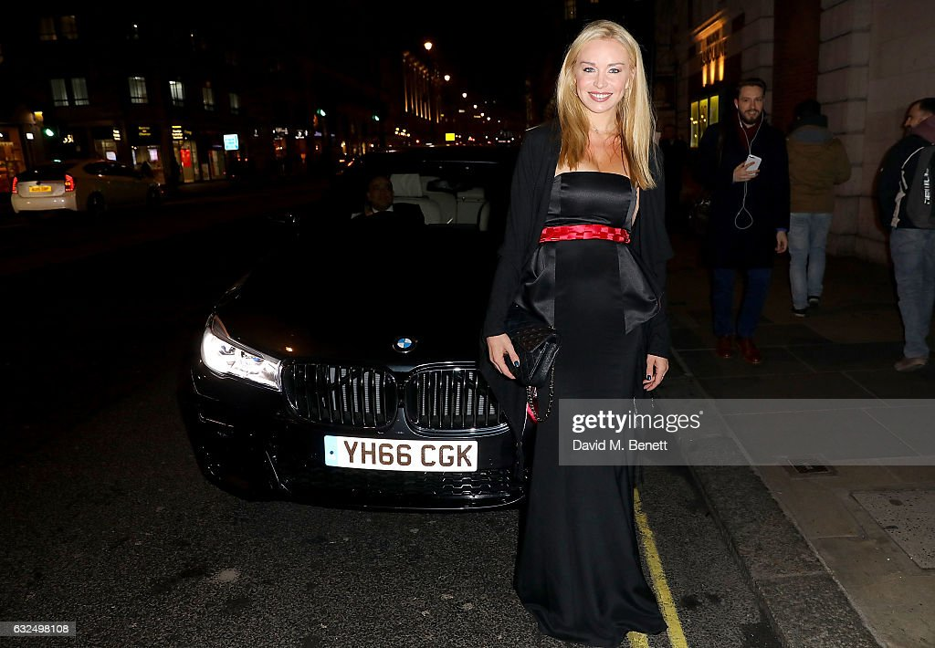 Noelle Reno arrives in style in the luxury BMW 7 Series at the Debrett's 500 Gala, at BAFTA on January 23, 2017 in London, England.