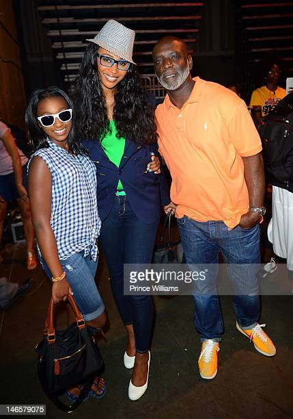 Noelle Robinson Cynthia Bailey and Peter Thomas backstage at 1079 Birthday Bash 17 at Philips Arena on June 16 2012 in Atlanta Georgia
