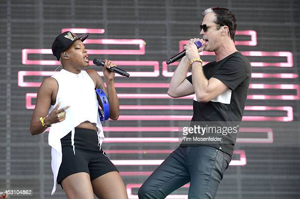 Noelle Scaggs and Michael Fitzpatrick of Fitz and the Tantrums perform during 2014 Lollapalooza at Grant Park on August 2 2014 in Chicago Illinois
