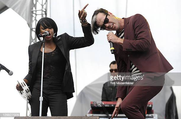Noelle Scaggs and Michael Fitzpatrick of Fitz and the Tantrums perform as part of the Austin City Limits Music Festival Day Two at Zilker Park on...