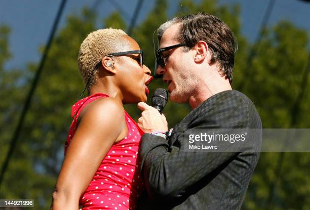 Noelle Scaggs and Michael Fitzpatrick of Fitz and the Tantrums perform at the Great Googa Mooga 2012 at Prospect Park on May 20 2012 in the Brooklyn...