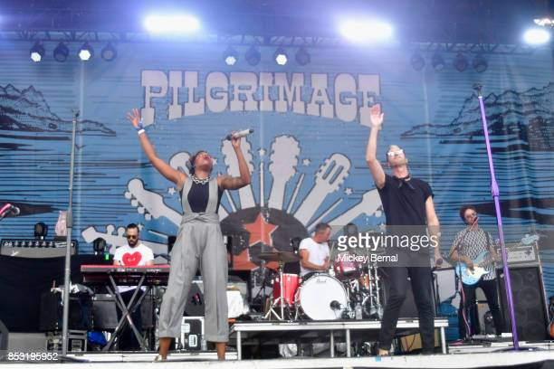 Noelle Scaggs and Michael Fitzpatrick of Fitz and the Tantrums perform during Pilgrimage Music Cultural Festival on September 24 2017 in Franklin...