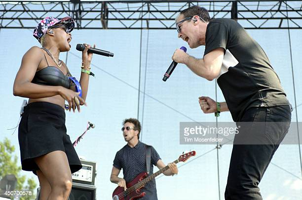 Noelle Scaggs and Michael Fitzpatrick of Fitz and the Tantrums perform during the 2014 Bonnaroo Music Arts Festival on June 15 2014 in Manchester...