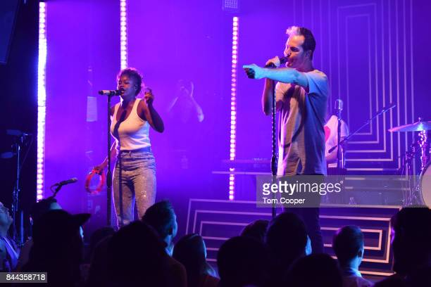 Noelle Scaggs and Michael Fitzpatrick of Fitz The Tantrums perform a Private Concert For SiriusXM at The Fox Theater on September 7 2017 in Boulder...