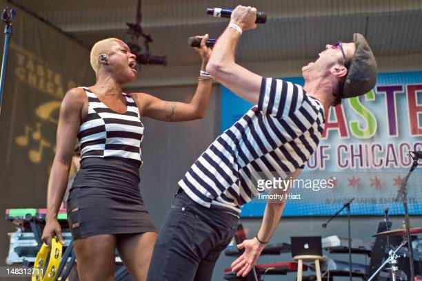 Noelle Scaggs and Michael Fitzpatrick of Fitz The Tantrums perform during the 2012 Taste Of Chicago at the Petrillo Music Shell on July 13 2012 in...