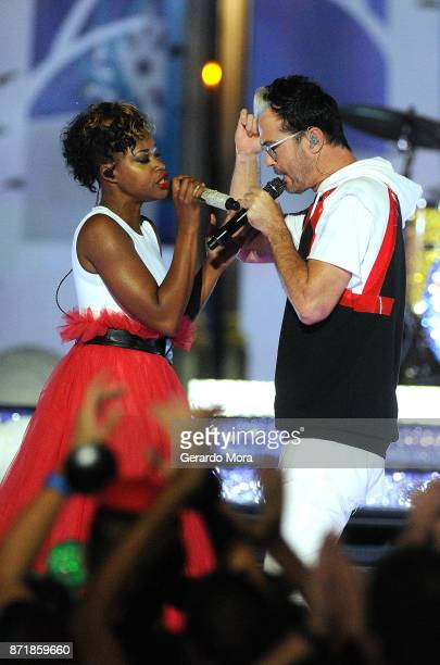 Noelle Scaggs and Michael Fitzpatrick of the Fitz and the Tantrums perform during the taping of 'The Wonderful World Of Disney Magical Holiday...