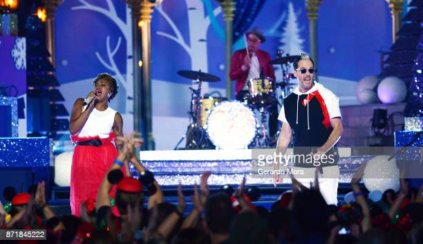 Noelle Scaggs John Wicks and Michael Fitzpatrick of the Fitz and the Tantrums perform during the taping of 'The Wonderful World Of Disney Magical...
