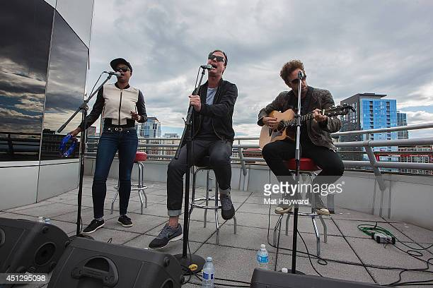 Noelle Scaggs Michael Fitzpatrick and Joe Karnes of Fitz and Tantrums perform during an EndSession at the 1077 The End station on June 26 2014 in...