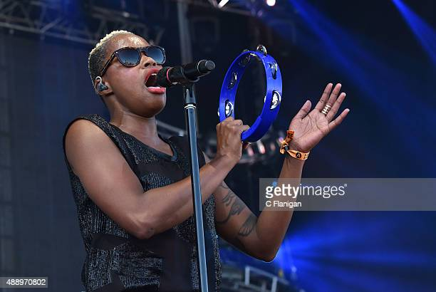Noelle Scaggs of Fitz and the Tantrums performs during 2015 KAABOO Del Mar at the Del Mar Fairgrounds on September 18 2015 in Del Mar California