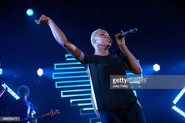 Noelle Scaggs of Fitz and The Tantrums performs in concert at Egyptian Room at Old National Centre on November 16 2013 in Indianapolis Indiana