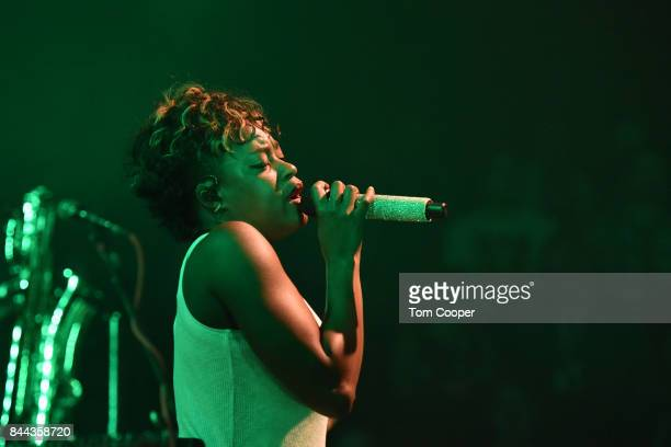 Noelle Scaggs singer for Fitz The Tantrums performs a private concert for SiriusXM subscribers at The Fox Theater on September 7 2017 in Boulder...