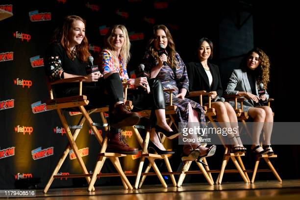 Noelle Stevenson, AJ Michalka, Lauren Ash, Karen Fukuhara and Aimee Carrero speak on stage at the DreamWorks She-Ra and the Princesses of Power, a...