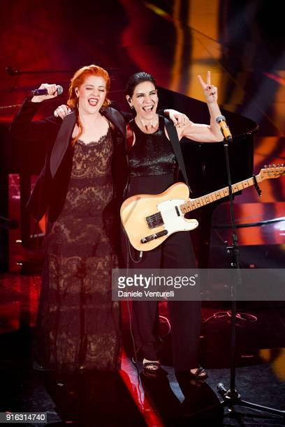 Noemi and Paola Turci attend the fourth night of the 68 Sanremo Music Festival on February 9 2018 in Sanremo Italy