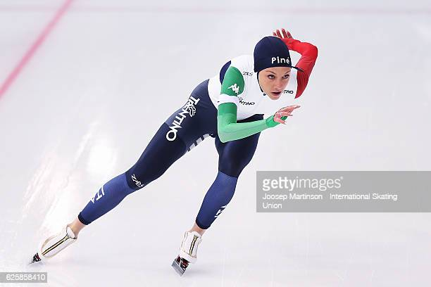 Noemi Bonazza of Italy competes in Junior Ladies 1000m during day one of ISU Junior World Cup Speed Skating at Minsk Arena on November 26 2016 in...