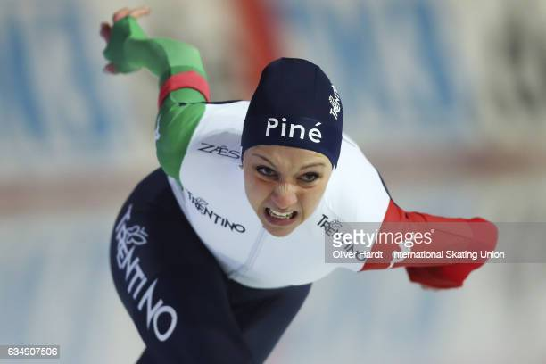 Noemi Bonazza of Italy competes in the Ladies Jun 1000m race during the ISU Junior World Cup Speed Skating Day 2 at the Gunda Niemann Stirnemann...