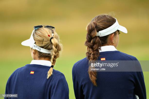 Noemi Jimenez and Silvia Banon look on on hole ten during match 1 of Group A during day one of the European Golf Team Championships at Gleneagles on...