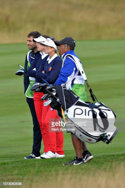 Noemi Jimenez and Silvia Banon of Spain look on on hole one during match 1 of Group A during day one of the European Golf Team Championships at...